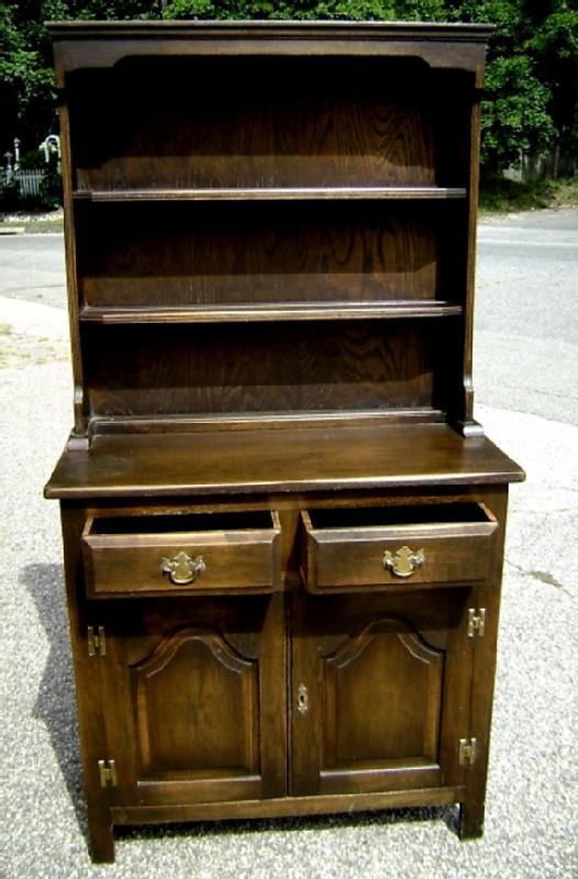 NO RESERVE!! English Dark Oak Dresser bookcase
