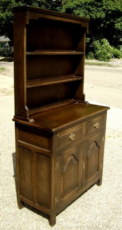 NO RESERVE!! English Dark Oak Dresser bookcase