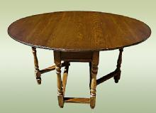 Antique 1890's country English dark Oak Gateleg Table
