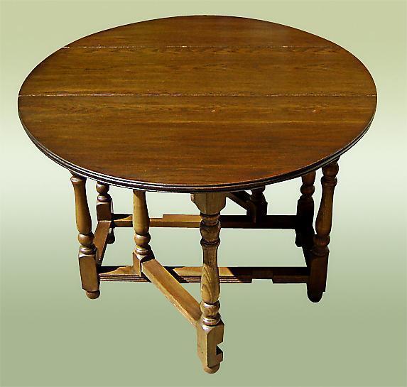 Antique 1890's country English dark Oak Gateleg Table