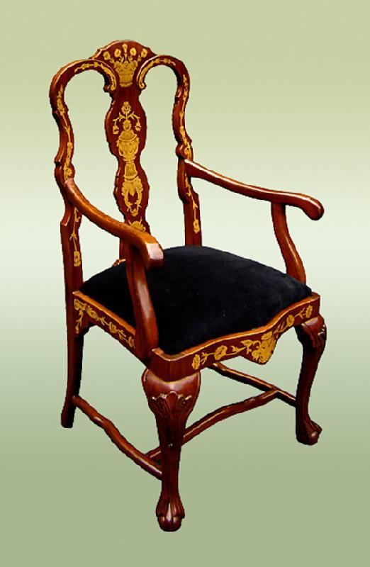 Quality Chippendale Style marquetry Armchair