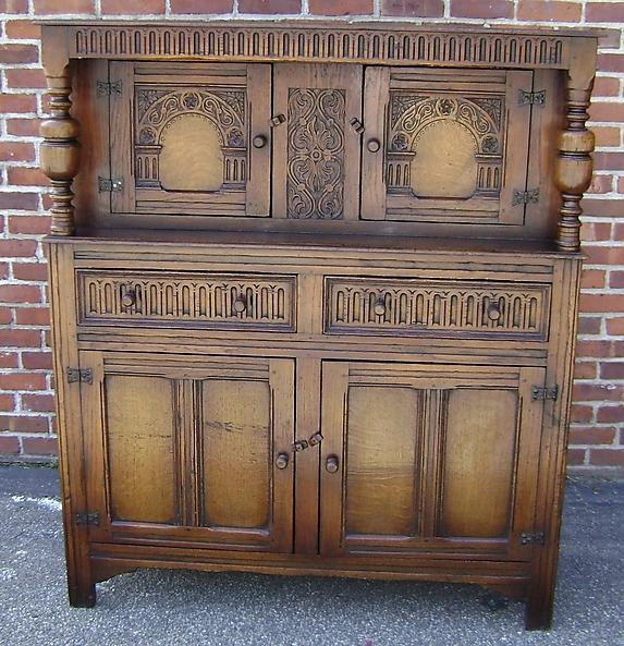 MONUMENTAL!! English solid oak court cupboard