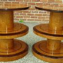NO RESERVE!! pair OF Art Deco style honey elm tables.