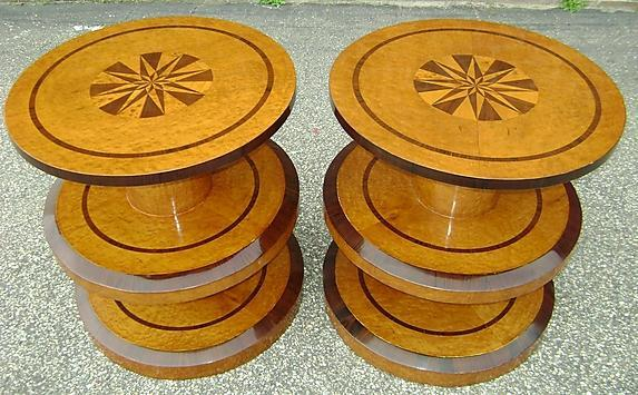 NO RESERVE!! pair OF Art Deco style honey elm tables.