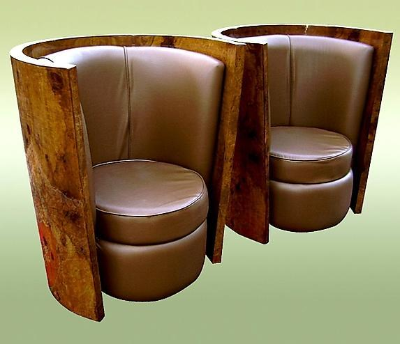 UNBELIEVABLE Art Deco style olive wood Pair of chairs