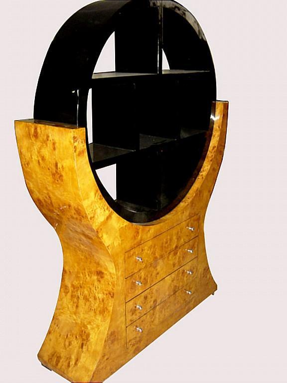 MONUMENTAL 2 tones Art Deco style Bookcase Elm