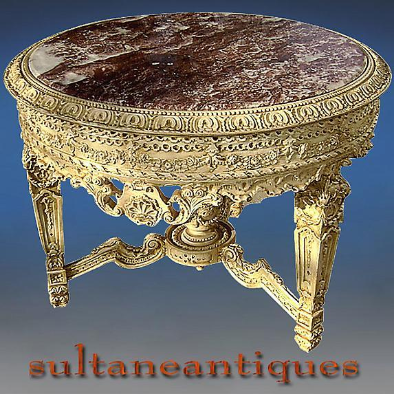 Royal table Louis XV style Ivory color with marble