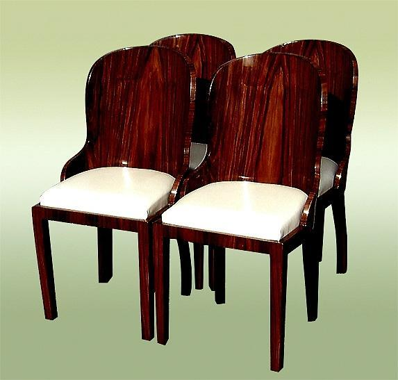 Superb set of FOUR Art Deco style Rosewood chairs