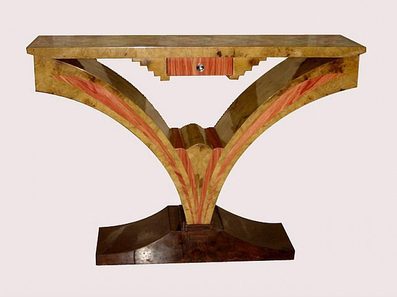 Best of Best Art Deco style exotic woods console