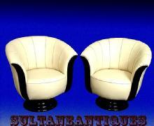 FABULOUS!! PAIR of Tulip Art Deco style chairs