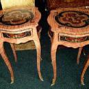 Unusual elegant pair Louis XV inlaid side tables