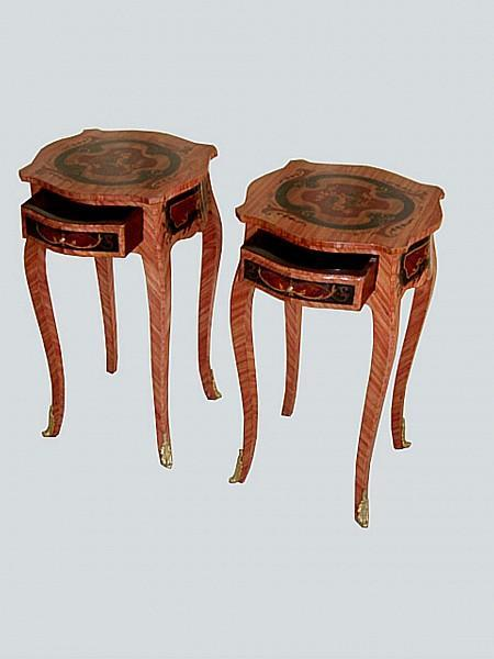 Unusual elegant pair Louis XV inlaid side tables