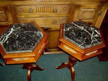 FINEST PAIR LOUIS XV Style MARBLE top side tables