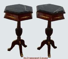 ELEGANT PAIR LOUIS XV Style MARBLE top side tables