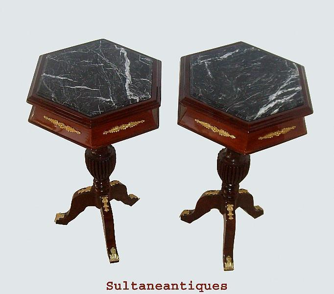 ELEGANT PAIR LOUIS XV Style MARBLE top side tables