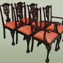 Set six Quality Chippendale style dining chairs (4+2)