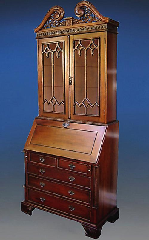 Majestic English Victorian style Bureau bookcase