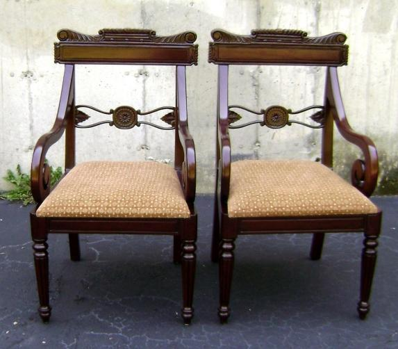 Pair of TOP quality Regency solid Mahogany Armchairs