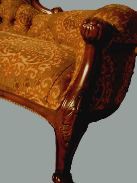 Fine LEFT single end Victorian Mahogany sofa
