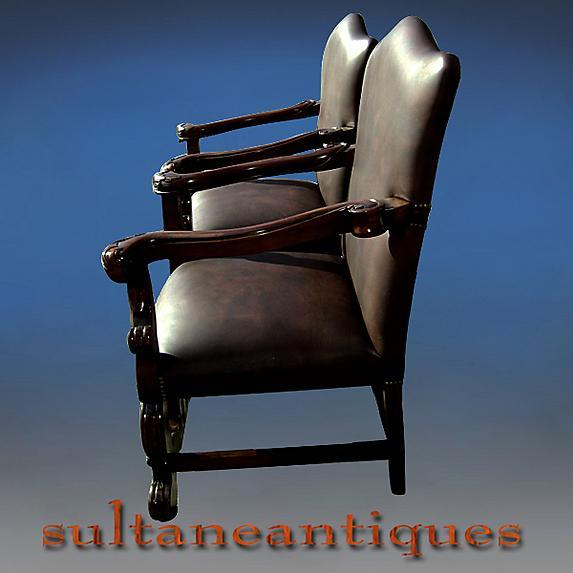 Pair Throne Bergeres solid mahogany full grain Leather