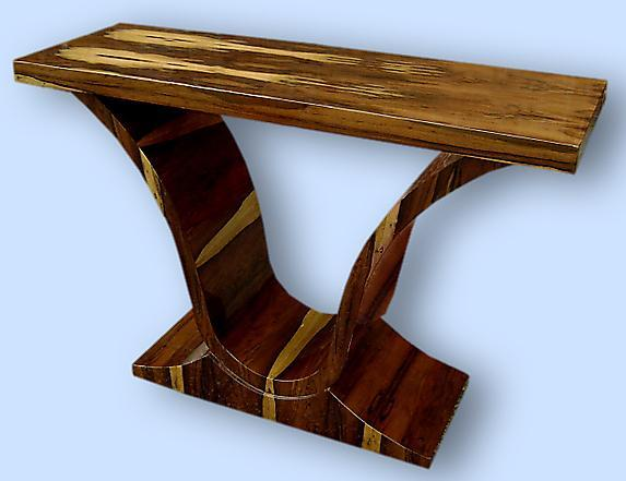 Terrific Console in exotic Rosewood Art Deco forms