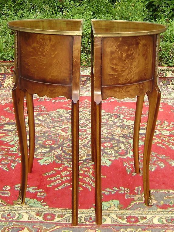 PAIR Burl walnut Louis XV style side tables