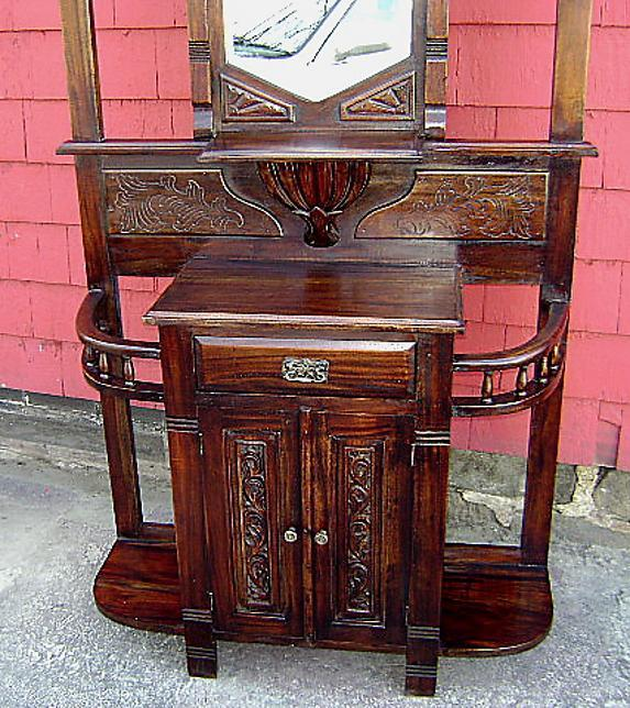Antique country carved solid mahogany hall stand