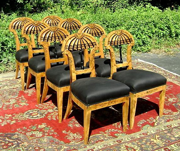 Phenomenal set of EIGHT Biedermeier style Elm Chairs
