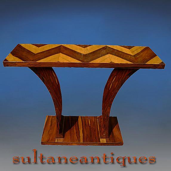 Amazing Rosewood Console in purest Art Deco style