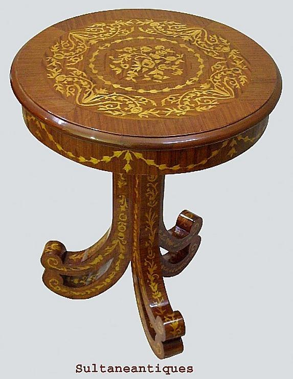 Unusual forms Italian Venetian marquetry side table