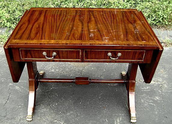 Quality Regency style Sofa drop leaf table walnut/Elm