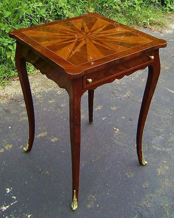 Elegant Louis XV style inlaid square side table