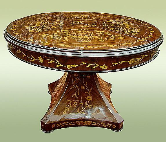 Royal 19th C. syle Marquetry extension centre table