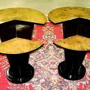 Art Deco style black and Elm wood side table
