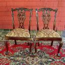 STUNNING PAIR!! Chippendale Style Mahogany chairs