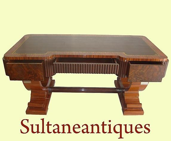 IMPORTANT Huge 74 INCHES burl Walnut Art Deco Desk