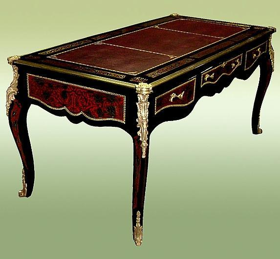 Grand aristocratic Louis XV style Boulle desk