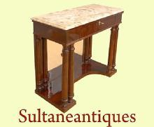Elegant Biedermeier style Walnut and Brescia console