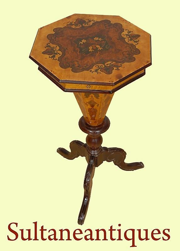 Amazing English Victorian style marquetry Work Table