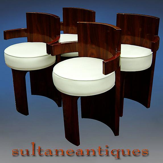 Outstanding set of 4 rosewood armchairs Art Deco style