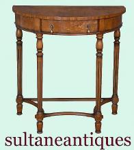 QUALITY English Regency Demi Lune burl walnut console