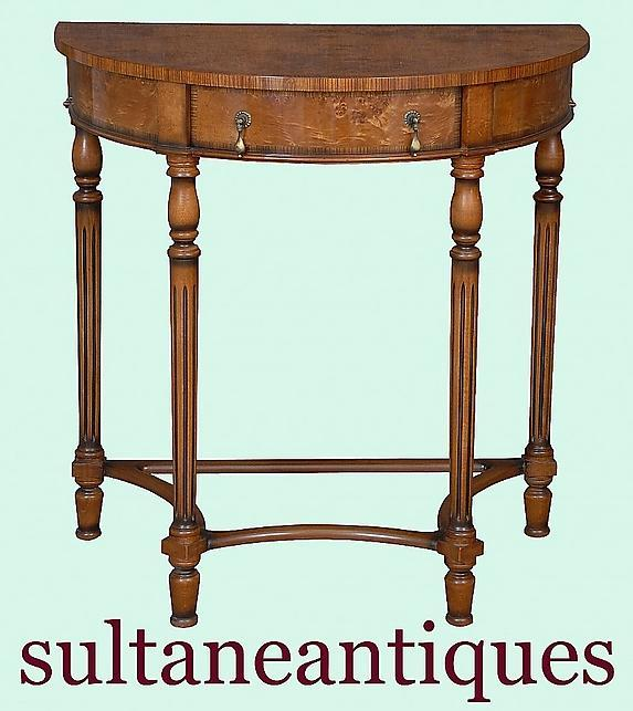 QUALITY English Regency Demi Lune burl walnut console