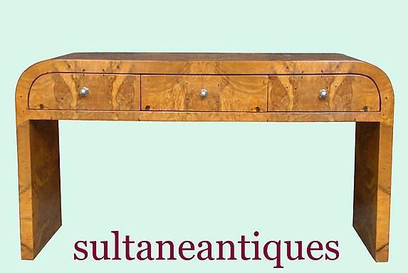 Fantastic olive wood Art Deco style Desk coffee table