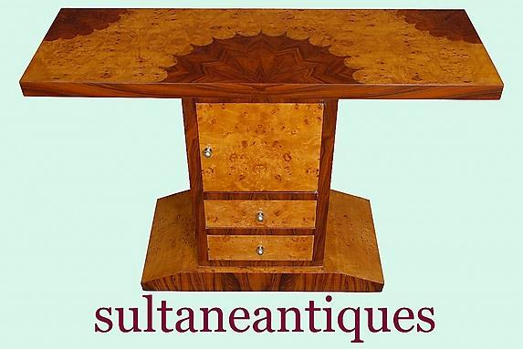 MASTERPIECE Art Deco style marquetry console