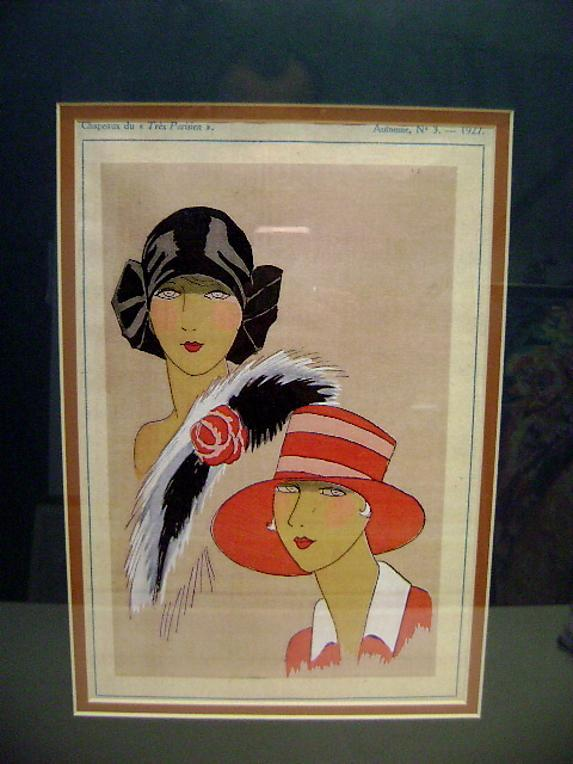 Large Art Deco 1930s print two ladies fashion models.