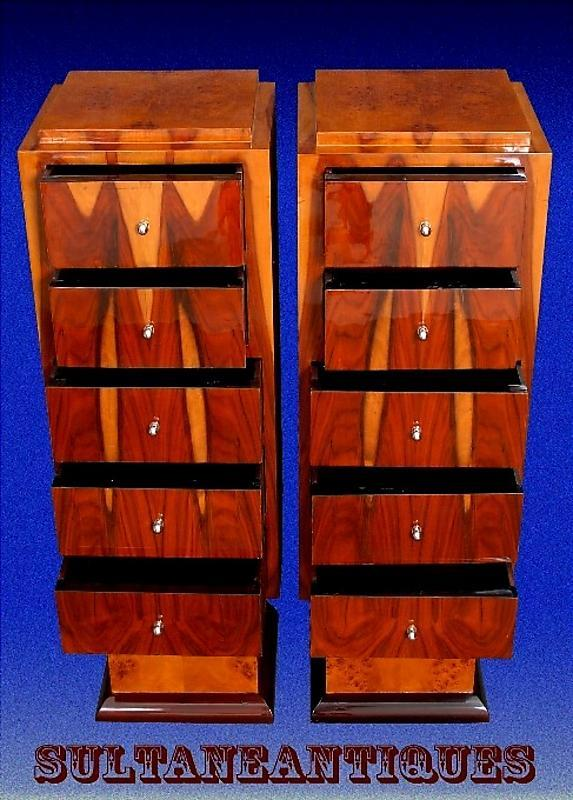 Unique Rosewood High commodes /stands Art Deco inspired