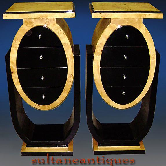 Pair of shaped Art Deco style high commodes