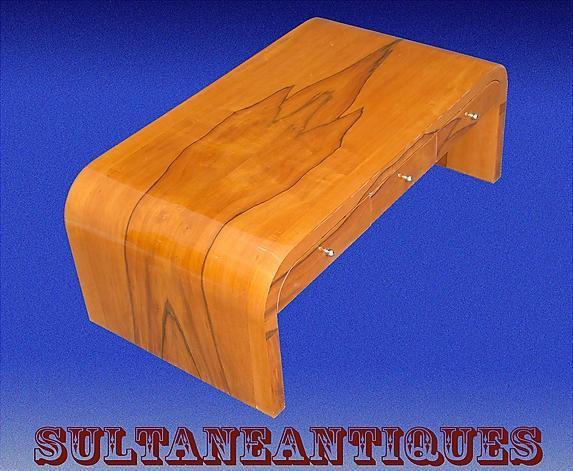 Large Cherry wood Art Deco coffee table