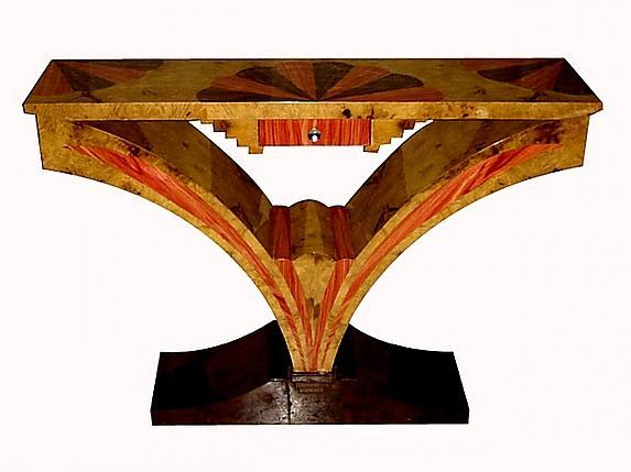 Art Deco style exotic woods console