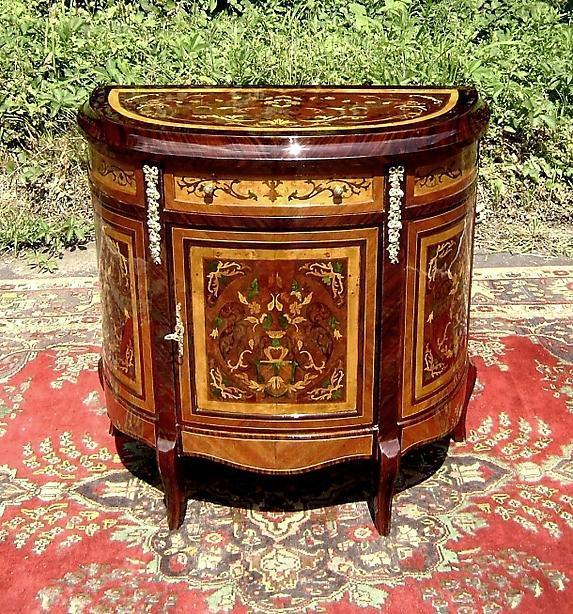 Unusual Florentine Italian Style Marquetry Sideboard
